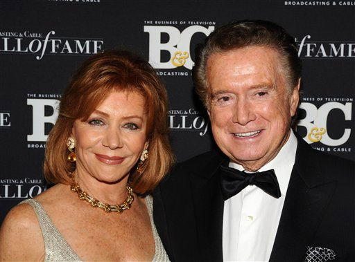 "<div class=""meta image-caption""><div class=""origin-logo origin-image ""><span></span></div><span class=""caption-text"">TV personality Regis Philbin and his wife Joy Philbin attend the 20th anniversary of The Broadcasting & Cable Hall of Fame, in New York on Wednesday, Oct. 27, 2010. (AP Photo/Peter Kramer) (AP Photo/ Peter Kramer)</span></div>"