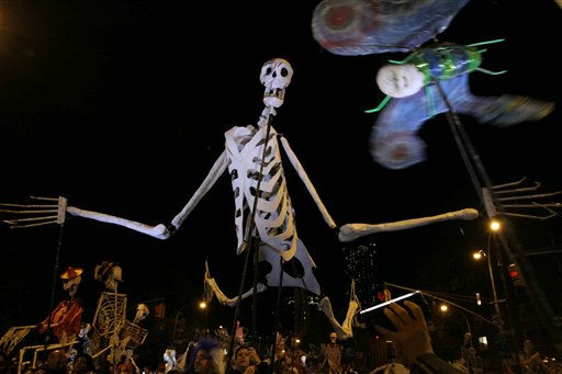 Puppets make their way up Sixth Avenue during the Village Halloween Parade Sunday, Oct. 31, 2010 in New York. &#40;AP Photo&#47;Tina Fineberg&#41; <span class=meta>(AP Photo&#47; Tina Fineberg)</span>
