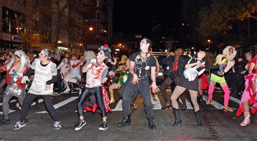 Revelers perform a dance to Michael Jackson&#39;s &#39;Thriller&#39; in the New York City Halloween Parade on Sunday, October 31, 2010 in New York City.  <span class=meta>(AP Photo&#47;Gregory Payan)</span>