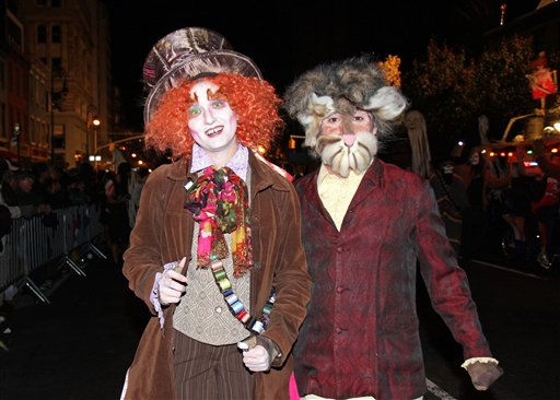 Revelers march as characters from &#39;Alice in Wonderland&#39; in the New York City Halloween Parade on Sunday, October 31, 2010 in New York City.  <span class=meta>(AP Photo&#47;Gregory Payan)</span>