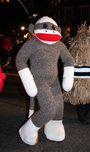 "<div class=""meta ""><span class=""caption-text "">A reveler dressed as a sock monkey marches in the New York City Halloween Parade on Sunday, October 31, 2010 in New York City.  (AP Photo/Gregory Payan)</span></div>"