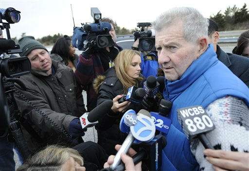 Gustav Coletti, 75, speaks to the media near his home in Oak Beach, Thursday, Dec. 16, 2010, on New York&#39;s Long Island. Coletti has told police of his encounter with Shannon Gilbert, who has been missing since May, 2010, as authorities continue scouring a 10-mile stretch of beach access road where four bodies were discovered this week. &#40;AP Photo&#47;Louis Lanzano&#41; <span class=meta>(AP Photo&#47; Louis Lanzano)</span>