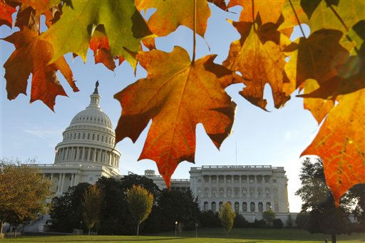 The U.S. Capitol and House of Representatives is seen through fall foliage on election day in Washington Tuesday, Nov. 2, 2010.&#40;AP Photo&#47;Alex Brandon&#41; <span class=meta>(AP Photo&#47; Alex Brandon)</span>