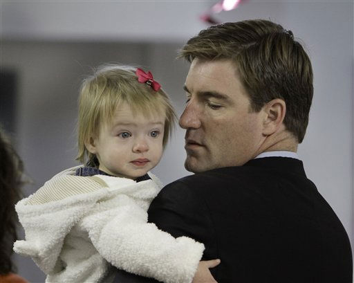 Kentucky U.S. Senate candidate Jack Conway and his 15-month-old daughter Eva Louise wait in line to vote in Louisville, Ky., Tuesday, Nov. 2, 2010. &#40;AP Photo&#47;Garry Jones&#41; <span class=meta>(AP Photo&#47; Garry Jones)</span>