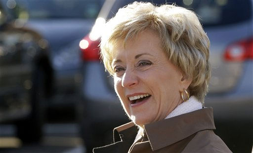 Connecticut Republican U.S. Senate candidate Linda McMahon smiles as she greets voters outside the Fox Run School in Norwalk, Tuesday, Nov. 2, 2010. &#40;AP Photo&#47;Charles Krupa&#41; <span class=meta>(AP Photo&#47; Charles Krupa)</span>