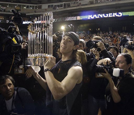 "<div class=""meta ""><span class=""caption-text "">San Francisco Giants' Tim Lincecum celebrates after Game 5 of baseball's World Series against the Texas Rangers Monday, Nov. 1, 2010, in Arlington, Texas. The Giants won 3-1 to capture the World Series. (AP Photo/Tony Gutierrez) (AP Photo/ Tony Gutierrez)</span></div>"