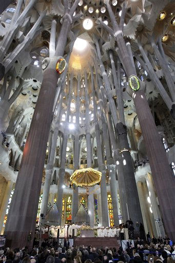 "<div class=""meta ""><span class=""caption-text "">Pope Benedict XVI, at center, leads a mass at  Sagrada Familia church in Barcelona, Spain, Sunday, Nov. 7, 2010. The Pope consecrated La Sagrada Familia, the Barcelona landmark designed by Antoni Gaudi, whose construction began in 1882 and continues today. (AP Photo/Alessandra Tarantino) (AP Photo/ Alessandra Tarantino)</span></div>"