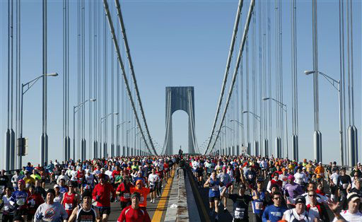 Runners cross the Verrazano-Narrows Bridge at the start of the New York City Marathon Sunday, Nov. 7, 2010 in New York. &#40;AP Photo&#47;Jason DeCrow&#41; <span class=meta>(AP Photo&#47; Jason DeCrow)</span>