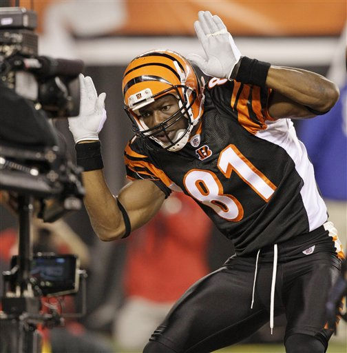 Cincinnati Bengals wide receiver Terrell Owens celebrates after scoring on a 19-yard pass reception in the first half of an NFL football game against the Pittsburgh Steelers, Monday, Nov. 8, 2010, in Cincinnati. &#40;AP Photo&#47;Ed Reinke&#41; <span class=meta>(AP Photo&#47; Ed Reinke)</span>
