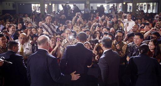 President Barack Obama greets the crowd after he speaks at the University of Indonesia in Jakarta, Indonesia, Wednesday, Nov. 10, 2010. &#40;AP Photo&#47;Charles Dharapak&#41; <span class=meta>(AP Photo&#47; Charles Dharapak)</span>