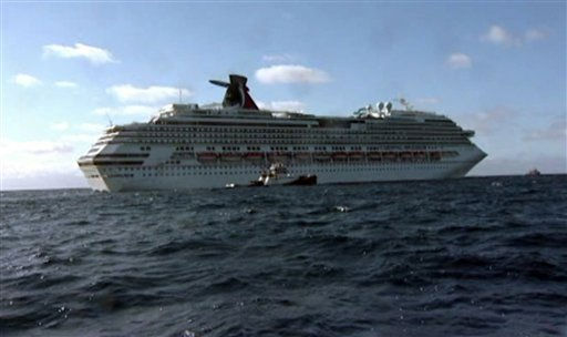 In this image taken from video, tug boats pull the disabled cruise ship Carnival Splendor toward the U.S. Wednesday, Nov. 10, 2010. The boat is expected to dock in San Diego midday Thursday. &#40;AP Photo&#47;APTN&#41; <span class=meta>(AP Photo&#47; Anonymous)</span>