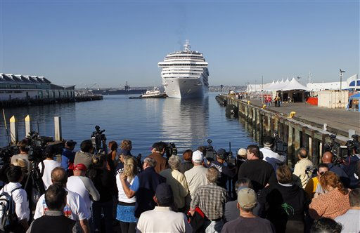 The Carnival Splendor cruise ship approaches the dock in San Diego, Calif., Thursday, Nov. 11, 2010. &#40;AP Photo&#47;Jae C. Hong&#41; <span class=meta>(AP Photo&#47; Jae C. Hong)</span>