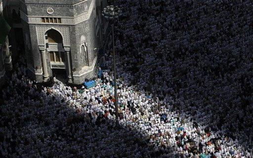Tens of thousands of Muslim pilgrims pray inside the Grand Mosque, during the annual Hajj in Mecca, Saudi Arabia, Friday, Nov. 12, 2010. The annual Islamic pilgrimage draws 3 million visitors each year, making it the largest yearly gathering of people in the world.&#40;AP Photo&#47;Hassan Ammar&#41; <span class=meta>(AP Photo&#47; Hassan Ammar)</span>