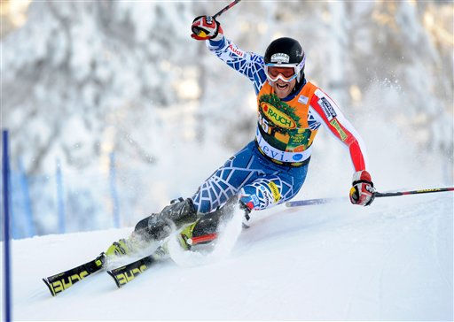 Will Brandenburg, of the US, speeds down the course during the first run of an alpine ski, Men&#39;s World Cup Slalom, in Levi, Finland, Sunday, Nov. 14, 2010. &#40;AP Photo&#47;Giovanni Auletta&#41; <span class=meta>(AP Photo&#47; Giovanni Auletta)</span>