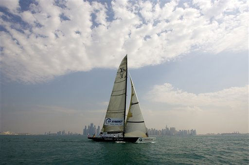 Synergy of Russia races against Artemis of Sweden during the first match of stage 1: Round Robin 1 of the Louis Vuitton Trophy in Dubai, United Arab Emirates Monday, Nov. 14, 2010.&#40;AP Photo&#47;Nousha Salimi&#41; <span class=meta>(AP Photo&#47; Nousha Salimi)</span>