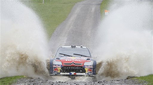 Sebastien Loeb of France and co-driver Daniel Elena of Monaco, driving a Citroen WRC rally car in action during the WRC Rally of Wales GB, special stage at Margam Park, Wales, Sunday, Nov. 14, 2010. &#40;AP Photo&#47;Alastair Grant&#41; <span class=meta>(AP Photo&#47; Alastair Grant)</span>