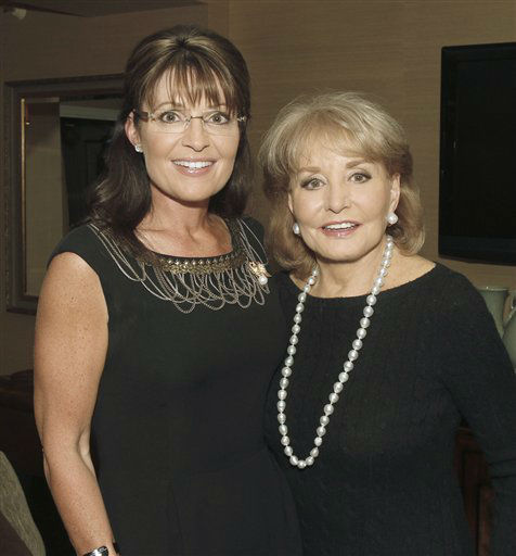 In this photo provided by ABC, former Alaska Gov. and Republican vice presidential candidate Sarah Palin, left, poses ABC&#39;s Barbara Walters, Sunday, Nov. 14, 2010 in New York. Their interview will air on Thursday, Dec. 9, 2010 as part of &#34;Barbara Walters Presents: The 10 Most Fascinating People of 2010.&#34;  &#40;AP Photo&#47;ABC, Lou Rocco&#41; **NO SALES** <span class=meta>(AP Photo&#47; Lou Rocco)</span>