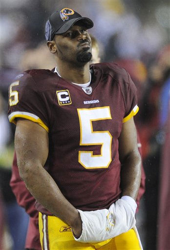 Washington Redskins quarterback Donovan McNabb watches the closing minutes of the Redskins&#39; 59-28 loss to the Philadelphia Eagles in an NFL football game, Monday, Nov. 15, 2010, in Landover, Md. AP Photo&#47;Nick Wass&#41; <span class=meta>(AP Photo&#47; Nick Wass)</span>