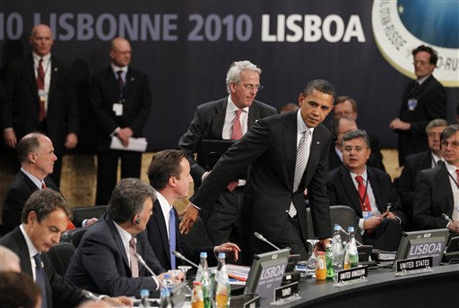 From left, Spanish Prime Minister Jose Luis Rodriquez Zapatero, Turkey&#39;s President Abdullah Gul, and  British Prime Minister David Cameron sit as  U.S. President Barack Obama takes his seat prior to participation in a NATO Russia Council meeting at a NATO summit in Lisbon on Saturday Nov. 20, 2010. NATO planned Saturday to deliver a historic invitation for Russia to join a missile shield protecting Europe against Iranian attack, a milestone for an alliance that was built to defend against Soviet forces.&#40;AP Photo&#47;Armando Franca&#41; <span class=meta>(AP Photo&#47; Armando Franca)</span>