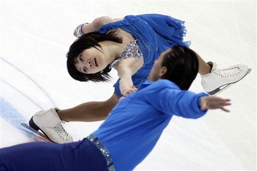 Russian pair Yuko Kavaguti and Alexander Smirnov skate their free program to win the gold at the Cup of Russia figure skating ISU Grand Prix event in Moscow, Russia, on Saturday, Nov 20, 2010. &#40;AP Photo&#47;Ivan Sekretarev&#41; <span class=meta>(AP Photo&#47; Ivan Sekretarev)</span>