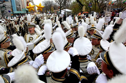 Members of the Purdue University All American Marching Band do a cheer before the start of the Macy&#39;s Thanksgiving Day Parade in New York Thursday, Nov. 25, 2010.  &#40;AP Photo&#47;Craig Ruttle&#41; <span class=meta>(AP Photo&#47; Craig Ruttle)</span>