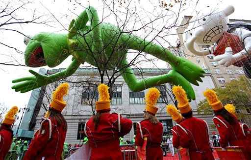 Kermit the Frog and Diary of a Wimpy Kid balloons float in the air before the start of the Macy&#39;s Thanksgiving Day Parade in New York Thursday, Nov. 25, 2010.  &#40;AP Photo&#47;Craig Ruttle&#41; <span class=meta>(AP Photo&#47; Craig Ruttle)</span>