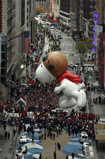 The Snoopy balloon floats through Times Square during the Macy&#39;s Thanksgiving Day parade in New York, Thursday, Nov. 25, 2010.  &#40;AP Photo&#47;Jeff Christensen&#41; <span class=meta>(AP Photo&#47; Jeff Christensen)</span>