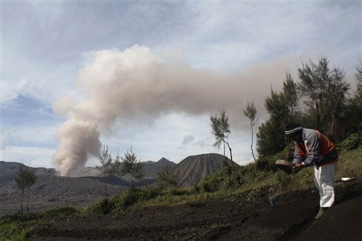 A villager works on his field as Mount Bromo spews volcanic smoke into the air in Probolinggo, East Java, Indonesia, Sunday, Dec. 5, 2010. Authorities raised Mount Bromo&#39;s alert level to its highest earlier this month after it showed signs of activity following a year long lull. &#40;AP Photo&#47;Trisnadi&#41; <span class=meta>(AP Photo&#47; Trisnadi)</span>
