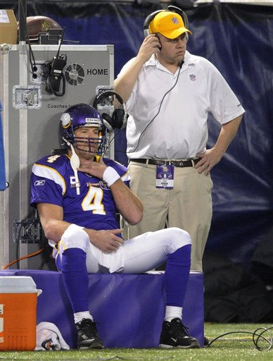 Minnesota Vikings quarterback Brett Favre &#40;4&#41; sits in the bench area after being injured during the first quarter of an NFL football game on Sunday, Dec. 5, 2010, in Minneapolis. &#40;AP Photo&#47;Hannah Foslien&#41; <span class=meta>(AP Photo&#47; Hannah Foslien)</span>