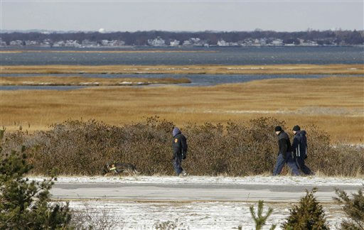 Authorities search in the brush by the side of the road at Cedar Beach, near Babylon, N.Y., Tuesday, Dec. 14, 2010. Police looking for a missing prostitute on Long Island&#39;s Fire Island have discovered three bodies and a set of skeletal remains near Oak Beach since Saturday. Investigators are considering the possibility that a serial killer may have dumped four bodies along the same quarter-mile stretch of beachside road, a police chief said Tuesday. &#40;AP Photo&#47;Seth Wenig&#41; <span class=meta>(AP Photo&#47; Seth Wenig)</span>