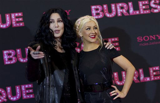 """<div class=""""meta image-caption""""><div class=""""origin-logo origin-image """"><span></span></div><span class=""""caption-text"""">US singers and actresses Cher, left, and Christina Aguilera, right, attend a photo call for the movie """"Burlesque"""" in Berlin, Germany, Thursday, Dec. 16, 2010. (AP Photo/Gero Breloer) (AP Photo/ Gero Breloer)</span></div>"""