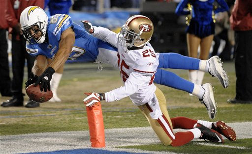 "<div class=""meta ""><span class=""caption-text "">San Diego Chargers wide receiver Vincent Jackson carries the ball into the end zone for a touchdown as San Francisco 49ers cornerback Tarell Brown, right, tries to stop him in the second half during an NFL football game, Thursday, Dec. 16, 2010, in San Diego. (AP Photo/Denis Poroy) (AP Photo/ Denis Poroy)</span></div>"