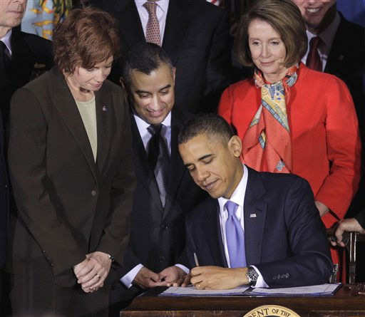 President Barack Obama signs the Don&#39;t Ask, Don&#39;t Tell Repeal Act of 2010,Wednesday, Dec. 22, 2010, at the Interior Department in Washington. From left are, Commander Zoe Dunning, Marine Staff Sgt. Eric Alva, and House Speaker Nancy Pelosi of Calif. &#40;AP Photo&#47;Pablo Martinez Monsivais&#41; <span class=meta>(AP Photo&#47; Pablo Martinez Monsivais)</span>