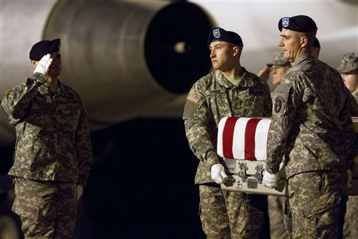 A soldier salutes as the transfer case containing the remains of U.S. Army Sgt. Enrique Mondragon, of The Colony, Texas, is carried to a transport vehicle upon arrival Christmas Day at Dover Air Force Base, Del., on Tuesday, Dec. 25, 2012. Mondragon died while supporting Operation Enduring Freedom. &#40;AP Photo&#47;Jacquelyn Martin&#41; <span class=meta>(AP Photo&#47; Jacquelyn Martin)</span>