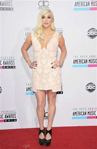 "<div class=""meta ""><span class=""caption-text "">Ke$ha arrives at the 40th Anniversary American Music Awards on Sunday, Nov. 18, 2012, in Los Angeles. (Photo by Jordan Strauss/Invision/AP) (AP Photo)</span></div>"