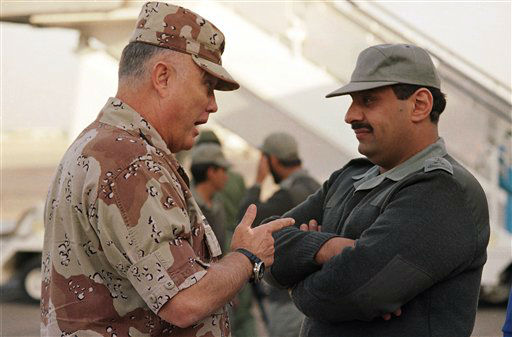 FILE - In this Dec. 19, 1990 file photo, Gen. Norman Schwarzkopf, commander of U.S. forces in the Gulf, left, confers with Saudi Arabian Lt. Gen. Khalid Bin Sultan, commander of multinational forces in the area, in Riyadh. Schwarzkopf died Thursday, Dec. 27, 2012 in Tampa, Fla. He was 78. &#40;AP Photo&#47;Peter Dejong, File&#41; <span class=meta>(AP Photo&#47; Peter Dejong)</span>
