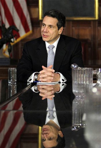 New York Gov. Andrew Cuomo speaks during a cabinet meeting in the Red Room at the Capitol in Albany, N.Y., Saturday, Jan. 1, 2011. Cuomo was sworn in Friday night in a private family ceremony at the executive mansion with his father, former Gov. Mario Cuomo, at his side.  &#40;AP Photo&#47;Mike Groll, Pool&#41; <span class=meta>(AP Photo&#47; Mike Groll)</span>
