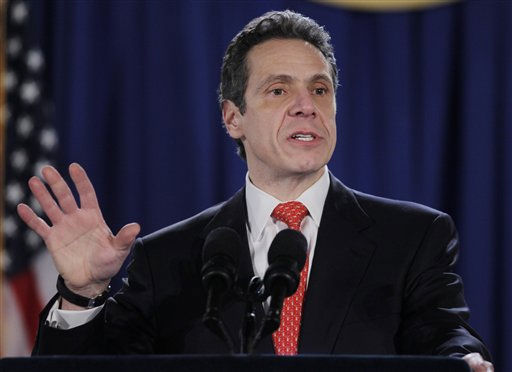 New York Gov. Andrew Cuomo speaks during a swearing-in ceremony in the War Room at the Capitol in Albany, N.Y., Saturday, Jan. 1, 2011.   &#40;AP Photo&#47;Mike Groll, pool&#41; <span class=meta>(AP Photo&#47; Mike Groll)</span>