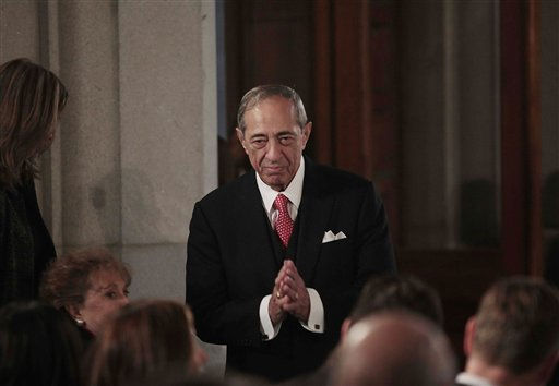 Former New York Gov. Mario Cuomo reacts to applause at a swearing-in ceremony for his son, New York Gov. Andrew Cuomo, at the Capitol in Albany, N.Y., Saturday, Jan. 1, 2011. &#40;AP Photo&#47;Nathaniel Brooks, Pool&#41; <span class=meta>(AP Photo&#47; Nathaniel Brooks)</span>