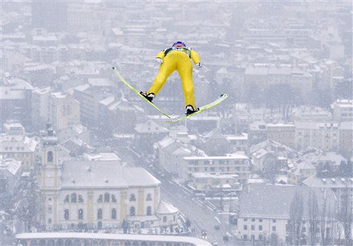 Austria&#39;s Andreas Kofler soars during a training jump at the third station of the Four Hills ski jumping tournament in front of the city of Innsbruck, Austria, on Sunday, Jan. 2, 2011. &#40;AP Photo&#47;Kerstin Joensson&#41; <span class=meta>(AP Photo&#47; Kerstin Joensson)</span>