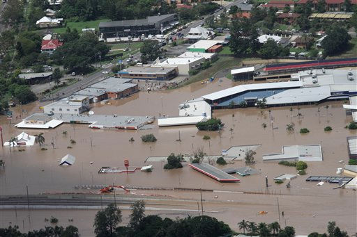 "<div class=""meta image-caption""><div class=""origin-logo origin-image ""><span></span></div><span class=""caption-text"">An entire shopping mall is submerged outside Ipswich, west of Brisbane, Wednesday, Jan. 12, 2011. Deadly floodwaters that have cut a swath across northeastern Australia flowed onto the streets of Brisbane, the nation's third-largest city, forcing people to flee suburbs and skyscrapers. (AP Photo) (AP Photo/ Anonymous)</span></div>"
