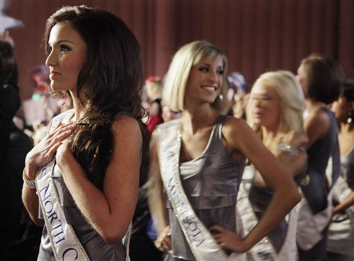 Miss North Carolina, Adrienne Leigh Core, left, waits for the start of the Miss America pageant, Saturday, Jan. 15, 2011, in Las Vegas. &#40;AP Photo&#47;Julie Jacobson&#41; <span class=meta>(AP Photo&#47; Julie Jacobson)</span>