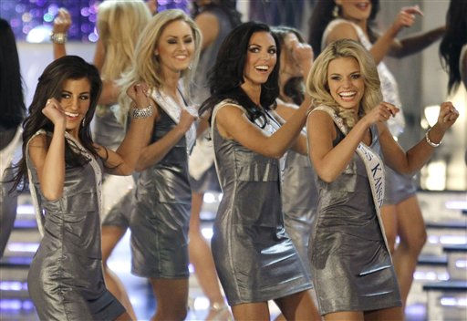 "<div class=""meta ""><span class=""caption-text "">From left, Miss Louisiana, Kelsi Crain, Miss Oregon, Stephanie Denise Steers, Miss Ohio, Becky Minger and Miss Kansas, Lauren Werhan, dance during the opening number of the Miss America pageant, Saturday, Jan. 15, 2011 in Las Vegas. (AP Photo/Julie Jacobson) (AP Photo/ Julie Jacobson)</span></div>"