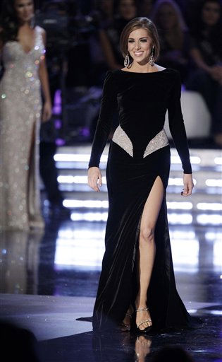 "<div class=""meta ""><span class=""caption-text "">Miss New York, Claire Buffie, walks on stage during the evening gown competition during the Miss America pageant, Saturday, Jan. 15, 2011 in Las Vegas. (AP Photo/Julie Jacobson) (AP Photo/ Julie Jacobson)</span></div>"
