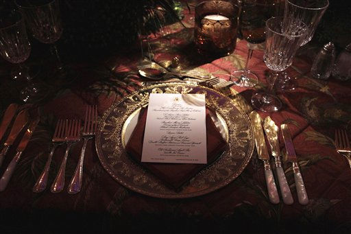 "<div class=""meta image-caption""><div class=""origin-logo origin-image ""><span></span></div><span class=""caption-text"">A place setting for the State Dinner in honor of  China's President Hu Jintao is seen at the White House in Washington, Wednesday, Jan. 19, 2011.  (AP Photo/Carolyn Kaster) (AP Photo/ Carolyn Kaster)</span></div>"
