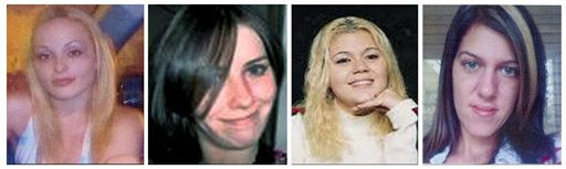 FILE - This combination of undated file photos provided by the Suffolk County Police Department shows, from left, Melissa Barthelemy of New York&#39;s Erie County; Maureen Brainard-Barnes of Norwich, Conn.; Megan Waterman of Scarborough, Maine; and Amber Lynn Costello of North Babylon, N.Y. One by one, starting in 2007, all four women disappeared shortly after booking a client for sex using online advertising services like Craigslist. Their bodies were found last month strewn about 500 yards apart along a deserted stretch of Long Island beach highway; the last victim seen as recently as September. &#40;AP Photo&#47;Suffolk County Police Department, File&#41; <span class=meta>(AP Photo&#47; Anonymous)</span>