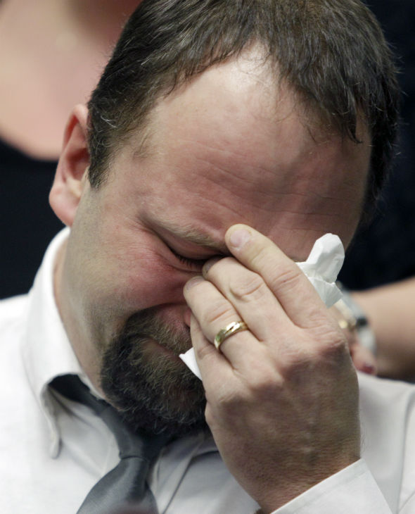 Mark Szpila, father of Melissa Barthelemy, weeps as he talks about her  during a news conference in Amherst, N.Y., Thursday, Jan. 27, 2011. Four women whose bodies were dumped along a desolate beachfront strip on Long Island were prostitutes who booked their clients online and were probably slain by a serial killer, authorities said Monday. &#40;AP Photo&#47;David Duprey&#41; <span class=meta>(Photo&#47;David Duprey)</span>