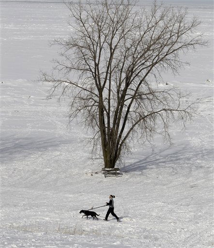 Danielle Sampliner, 27, and her dog, Aleca, brave the frigid weather to run a couple of miles along the shores of Lake Erie Monday, Jan. 31, 2011, in Cleveland. Temperatures will stay in the teens for northeast Ohio on Monday. &#40;AP Photo&#47;Tony Dejak&#41; <span class=meta>(AP Photo&#47; Tony Dejak)</span>