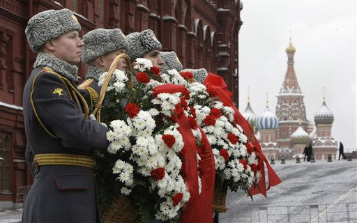 Honor guards hold flowers during a wreath laying ceremony at a memorial stone marking the Battle for Stalingrad outside the Kremlin Wall to mark 68th Anniversary of Victory in the Battle for Stalingrad in Moscow, Russia, Wednesday, Feb. 2, 2011. &#40;AP Photo&#47;Misha Japaridze&#41; <span class=meta>(AP Photo&#47; Misha Japaridze)</span>