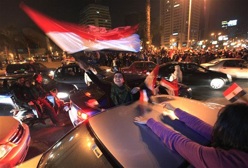 "<div class=""meta image-caption""><div class=""origin-logo origin-image ""><span></span></div><span class=""caption-text"">Egyptians celebrate after President Hosni Mubarak resigned and handed power to the military in Cairo, Egypt, Friday, Feb. 11, 2011. Egypt exploded with joy, tears, and relief after pro-democracy protesters brought down President Hosni Mubarak with a momentous march on his palaces and state TV. Mubarak, who until the end seemed unable to grasp the depth of resentment over his three decades of authoritarian rule, finally resigned Friday and handed power to the military.(AP Photo/Amr Nabil) (AP Photo/ Amr Nabil)</span></div>"